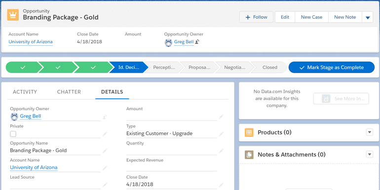 Salesforce Sales Cloud wizard-style user interface adds structure to the sales process by introducing 'to-dos', action history, and introducing all account-related information in a single place